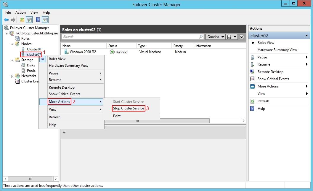 Hyper-V on Failover Cluster Manager Testing