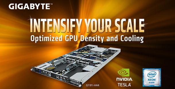 技嘉科技推出可搭載4張GPU加速卡的1U伺服器