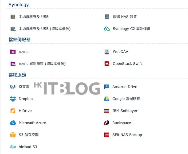 Hyper Backup 支援的備份目的地列表